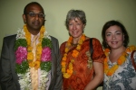 "Guests were ""garlanded"" - a tradition Indian way of welcoming honored guests."